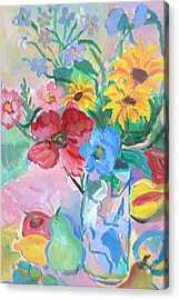 Flowers And Fruits Acrylic Print by Brenda Ruark