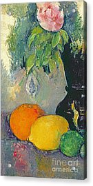 Flowers And Fruits Acrylic Print by Paul Cezanne