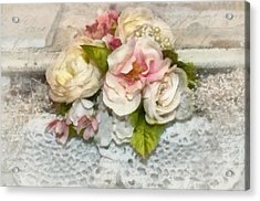 Flowers And Lace Acrylic Print by Kathy Jennings