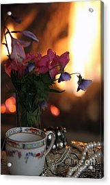 Flowers And Pearls Shabby Chic Wall Art Acrylic Print