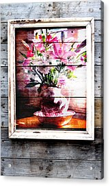 Flowers And Wood Acrylic Print