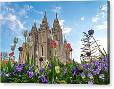 Flowers At Temple Square Acrylic Print