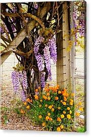 Flowers By The Gate Acrylic Print by Avis  Noelle