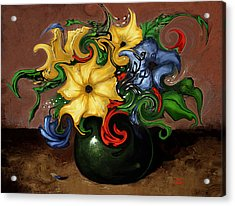 Acrylic Print featuring the painting Flowers Dancing by Terry Webb Harshman