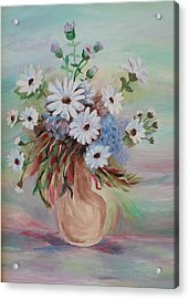 Acrylic Print featuring the painting Flowers For Mom by Christy Saunders Church