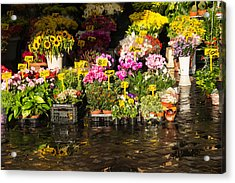 Flowers For Sale At Campo De Fiori - My Favourite Market In Rome Italy Acrylic Print