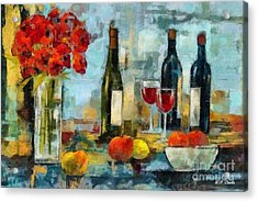 Flowers Fruit And Wine Acrylic Print by Elizabeth Coats