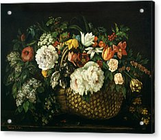 Flowers In A Basket, 1863 Acrylic Print by Gustave Courbet