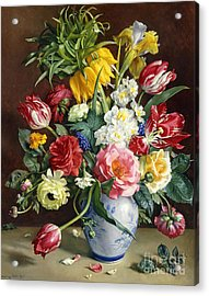 Flowers In A Blue And White Vase Acrylic Print by R Klausner