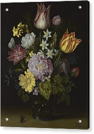 Flowers In A Glass Vase Acrylic Print by Ambrosius Bosschaert the Elder