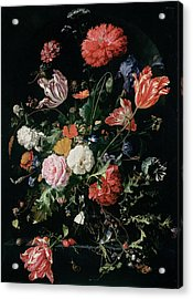 Flowers In A Glass Vase, Circa 1660 Acrylic Print by Jan Davidsz de Heem