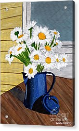 Acrylic Print featuring the painting Flowers In A Teapot by Laura Forde