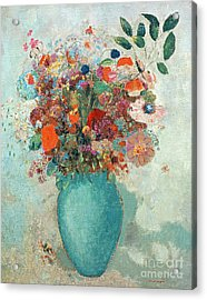 Flowers In A Turquoise Vase Acrylic Print by Odilon Redon