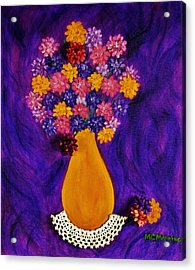 Flowers In A Yellow Vase Acrylic Print by Celeste Manning