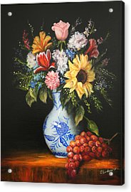 Acrylic Print featuring the painting Flowers In Blue And White Vase by Sandra Nardone