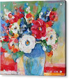 Flowers In Blue Vase 1 Acrylic Print by Becky Kim
