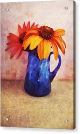 Flowers In  Blue Vase Acrylic Print by Ann Powell