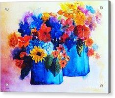 Flowers In Blue Vases Acrylic Print