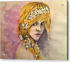 Flowers In Her Hair Series I Acrylic Print by Paula Steffensen
