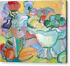 Flowers In Her Hat Acrylic Print by Brenda Ruark