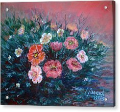 Acrylic Print featuring the painting Flowers In My Garden. by Laila Awad Jamaleldin