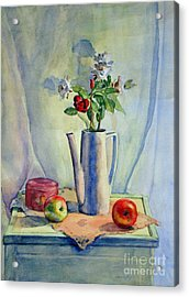 Flowers In Pitcher With Apples Acrylic Print