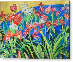 Flowers In Polyphony Acrylic Print by Esther Newman-Cohen
