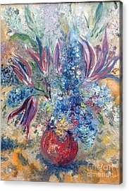 Flowers In Red Vase Acrylic Print by Irene Pomirchy