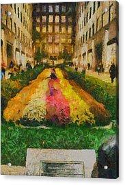 Flowers In Rockefeller Plaza Acrylic Print by Dan Sproul