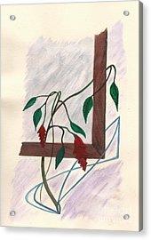 Flowers In The Window Acrylic Print by Robert Meszaros