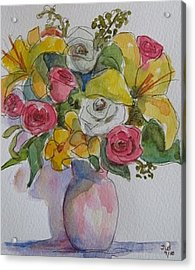 Vase With Flowers  Acrylic Print by Janet Butler