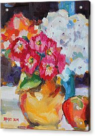 Flowers In Yellow Vase With An Apple Acrylic Print by Becky Kim