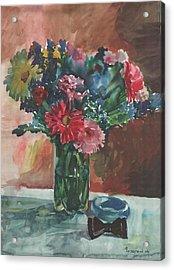 Flowers Of Italy With A Bow Tie And A Blue Bracelet Acrylic Print by Anna Lobovikov-Katz