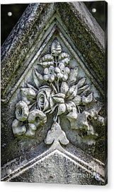 Flowers On A Grave Stone Acrylic Print