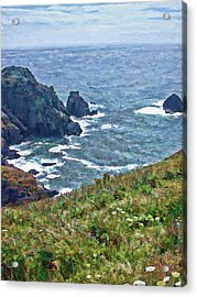 Flowers On Isle Of Guernsey Cliffs Acrylic Print