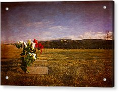 Flowers On Memorial Acrylic Print by Dave Garner