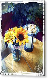Flowers On Table Acrylic Print by Gerry Robins