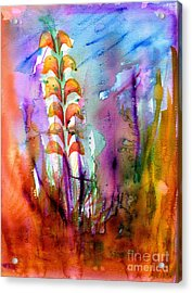 Flowers Orange Acrylic Print by Mukta Gupta