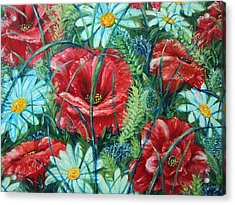 Flowers Poppies And Daisies Acrylic Print by Drinka Mercep