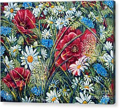 Flowers Poppies And Daisies No.5 Acrylic Print by Drinka Mercep