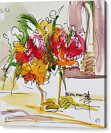 Flowers Red And Yellow Acrylic Print by Becky Kim