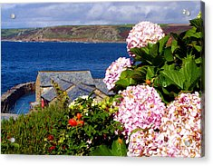 Flowers With A Sea View Acrylic Print by Terri Waters