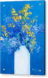 Flowers With Blue Background Acrylic Print