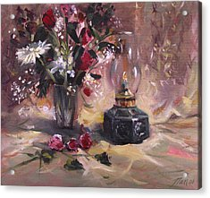 Flowers With Lantern Acrylic Print by Nancy Griswold