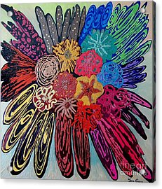 Acrylic Print featuring the painting Flowers Burst By Jasna Gopic by Jasna Gopic