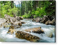Flowing River Acrylic Print by Mike Schmidt