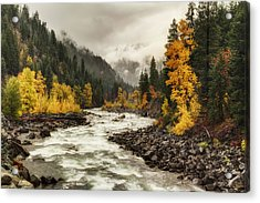 Flowing Through Autumn Acrylic Print by Mark Kiver