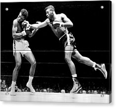 Floyd Patterson Throwing Hard Punch Acrylic Print by Retro Images Archive