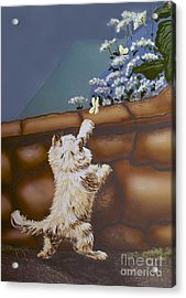 Fluff And Flutter Acrylic Print by Linda Simon