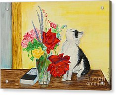 Fluff Smells The Lavender- Painting Acrylic Print
